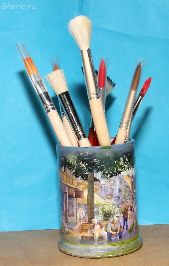 декупаж карандашница